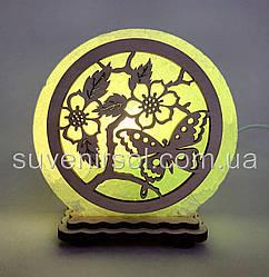 """Соляная лампа круглая маленькая """"Бабочка в цветах"""""""