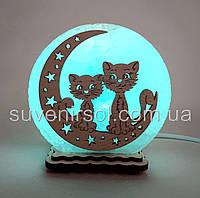 """Соляная лампа круглая маленькая """"Коты на луне"""""""