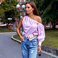 Женская рубашка с одним рукавом розовая
