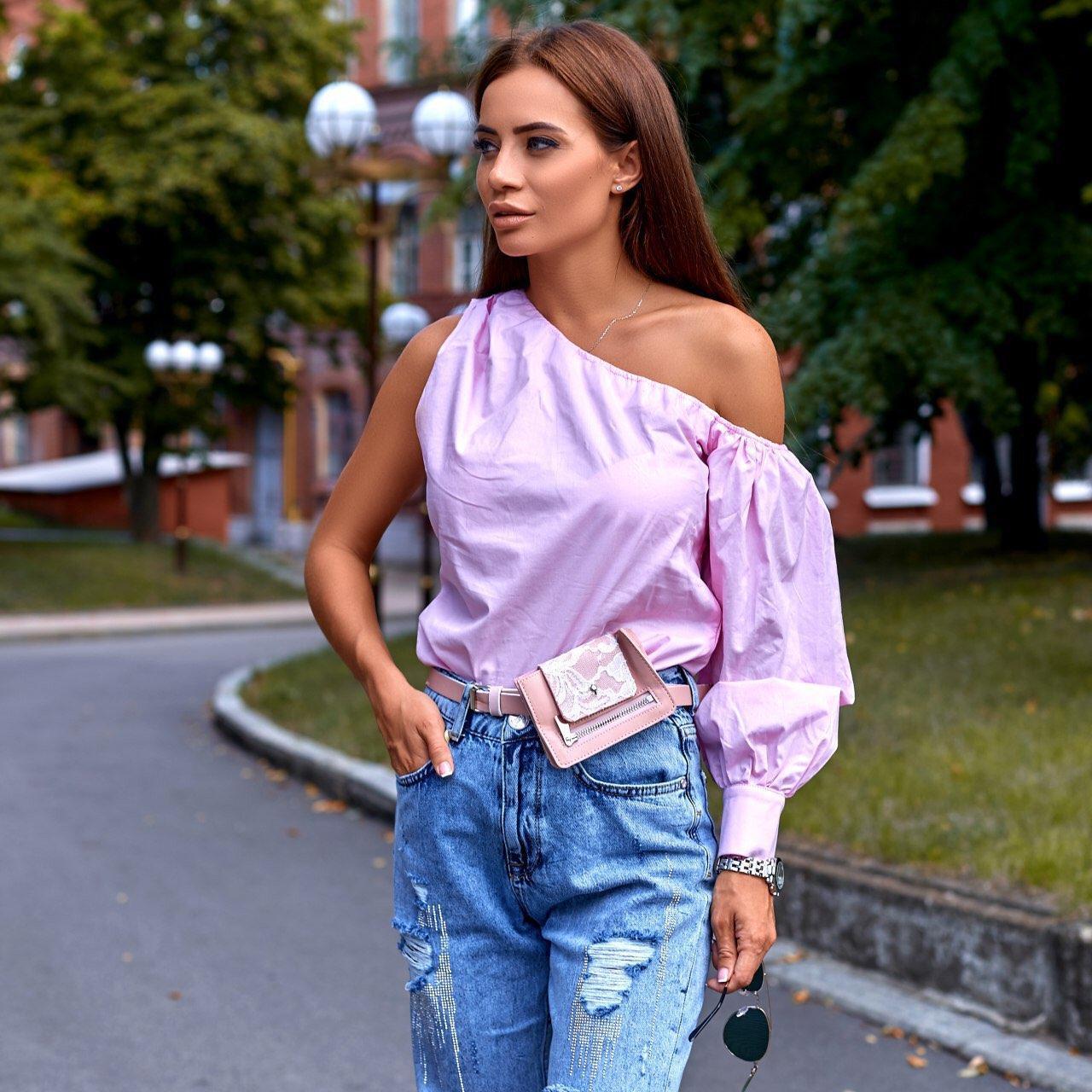 Жіноча сорочка з одним рукавом, рожева