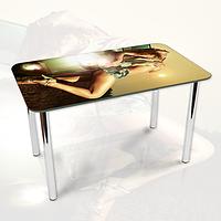Виниловая наклейка на стол Девушка и Солнце ламинированная двойная пленка, 600*1200 мм, люди, бежевый