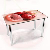 Виниловая наклейка на стол Девушка и Черешни ламинированная двойная пленка, 600*1200 мм, люди, красный