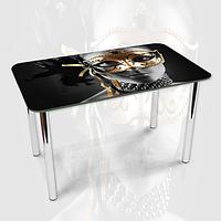 Виниловая наклейка на стол Девушка в золотой маске ламинированная двойная пленка, 600*1200 мм, люди, серый