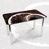 Виниловая наклейка на стол Кофейные зерна и Чашка кофе двойная пленка, 600*1200 мм, еда и напитки, коричневый