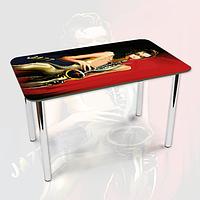 Виниловая наклейка на стол Девушка с Трубой ламинированная двойная пленка, 600*1200 мм, люди, красный