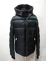 Куртка мужская на био-пухе с капюшоном цвет-изумруд длина 75см 46р 48р 50р 52р