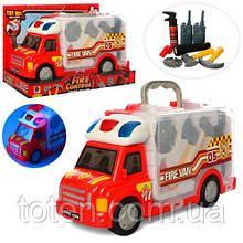 Машинка игровая 34.5 см Набор Пожарника, инструменты, звук, свет 661-175