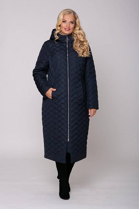 Женское стеганое пальто с капюшоном ЭЛИН темно-синее (54-60)