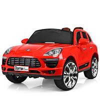 Детский электромобиль Porshe M 3289 EBLR-3 с кожаным сиденьем, красный