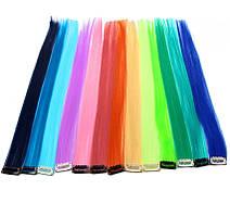10х Цветные пряди на заколках 40 см накладные волосы термостойкие