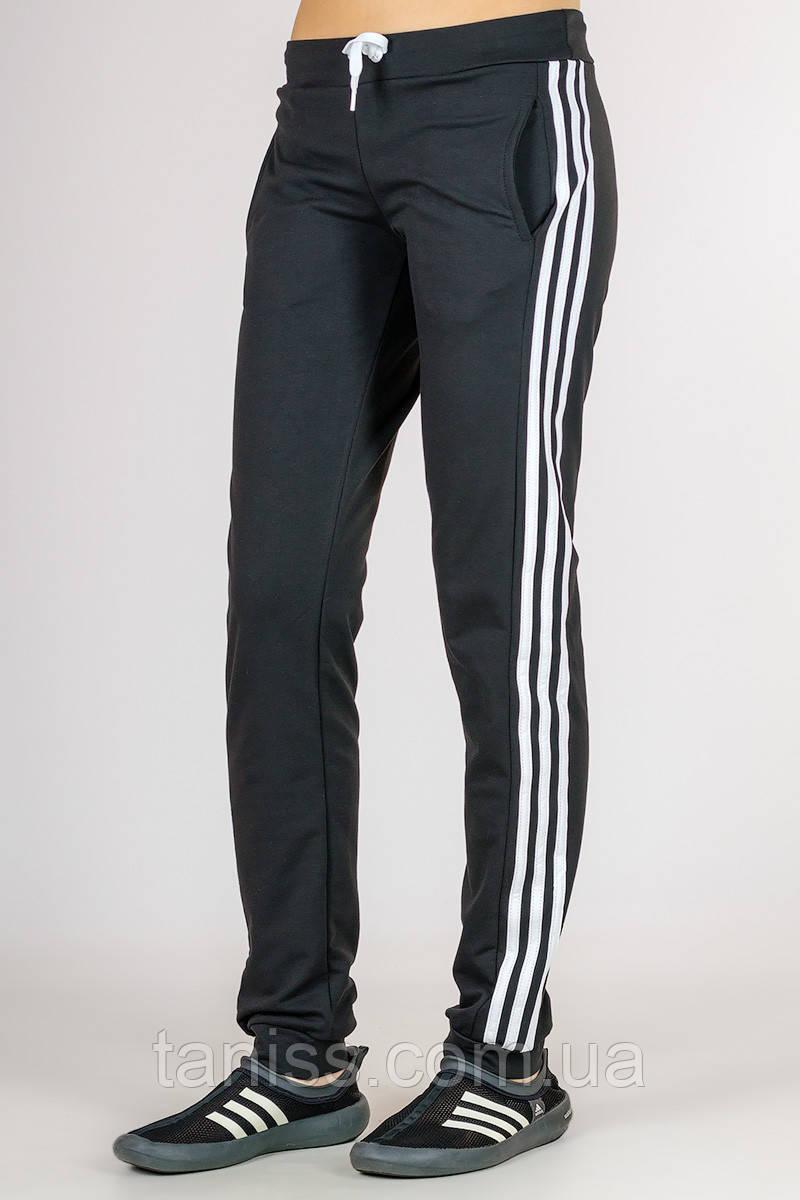 Жіночі спортивні штани Classic, середня посадка, турецький трикотаж р. 44,46,48,50 чорний