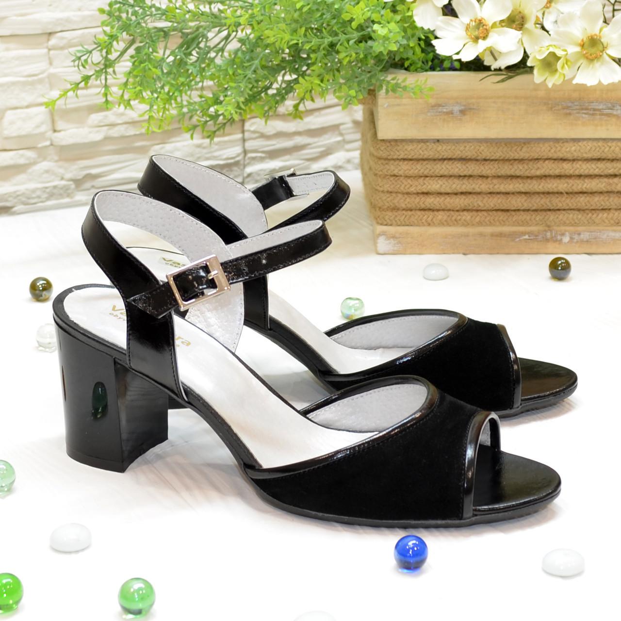 Босоножки женские комбинированные на устойчивом каблуке