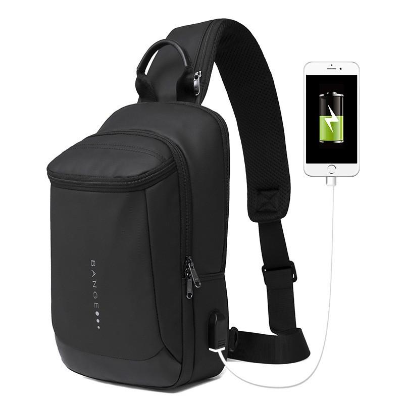 Городской однолямочный рюкзак через плечо Bange BG1910, с USB портом, влагозащищённый, 5л