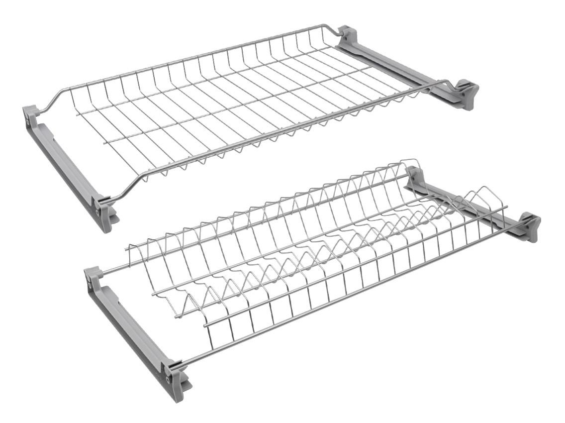 Кухоний посудосушитель INOXA 701 сірий під фасад 500, 600, 700, 800, 900мм (2 полиці, 4 кріплення)