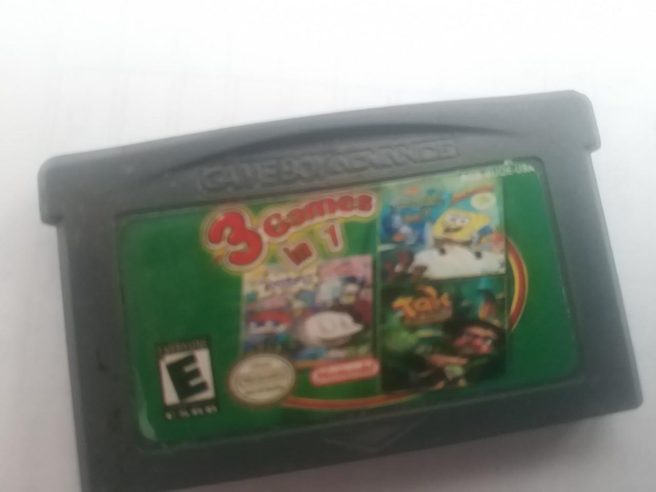 Картридж GBA 3 в 1 (Rugrats, Tak ,spongebob squarepants)