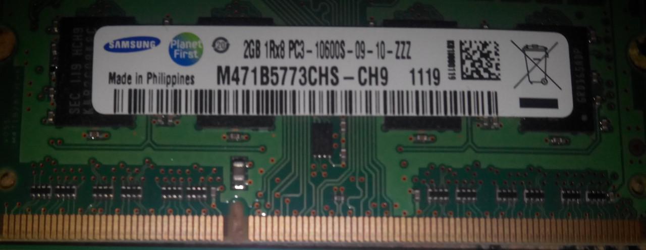 Память для ноутбука SO-DIMM DDR3 2GB samsung pc3-10600s-09-10-zzz