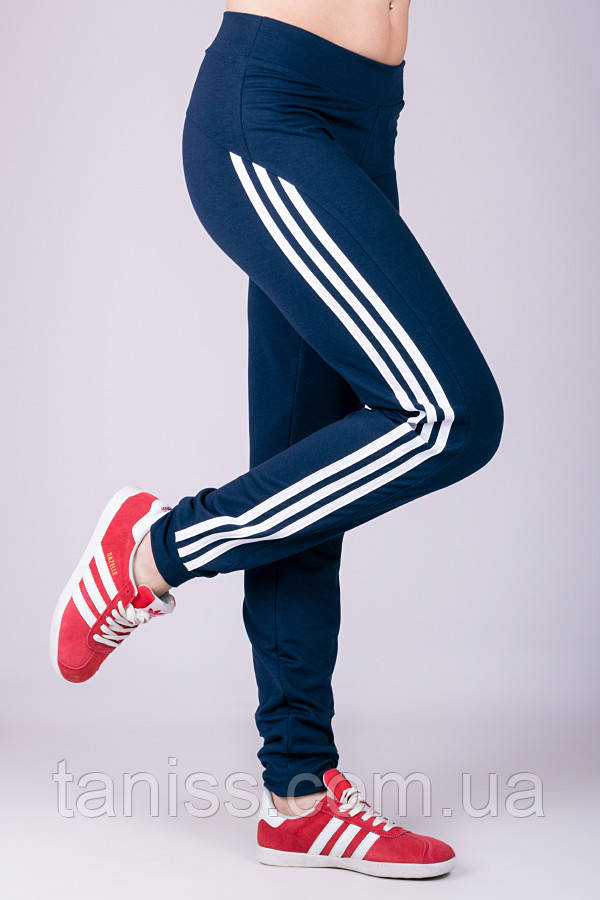 Женские спортивные штаны Fitness, средняя посадка, турецкий трикотаж  р. 44,46,48,50 синий (011069)
