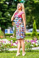 Яркое, стильное платье приталенного силуэта, микромасло, принт, фото 1