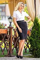Универсальная юбка-карандаш украшенная понизу кружевом, фото 1