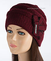 Теплая шапочка из мохера Арина бордо
