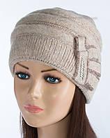 Теплая мохеровая шапочка Арина лен