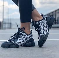Женские кроссовки Dior D-connect Black white. Живое фото. Топ реплика ААА+, фото 1