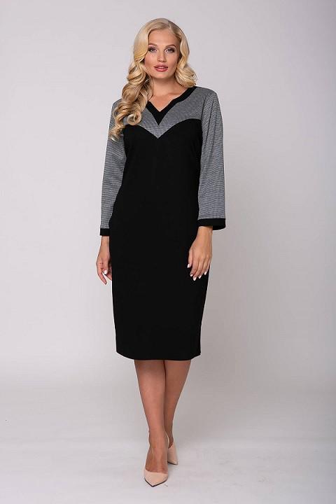 Прямое платье с фигурным вырезом ГРЕТТА черное (54-60)