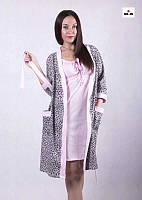 Женский комплект теплый халат на запах с ночной, для беременных и кормящих мам р.42-54