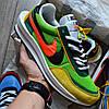"""Мужские кроссовки Nike LD Waffle Sacai """"Green Multi"""" замшевые 41-44р. Живое фото (Реплика ААА+)"""