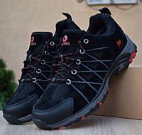 Зимние мужские полуботинки Merrell trail  чёрные с красным 41-46 рр. Живое фото. Реплика