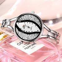 Красивые женские наручные часы, серебристый ремешок