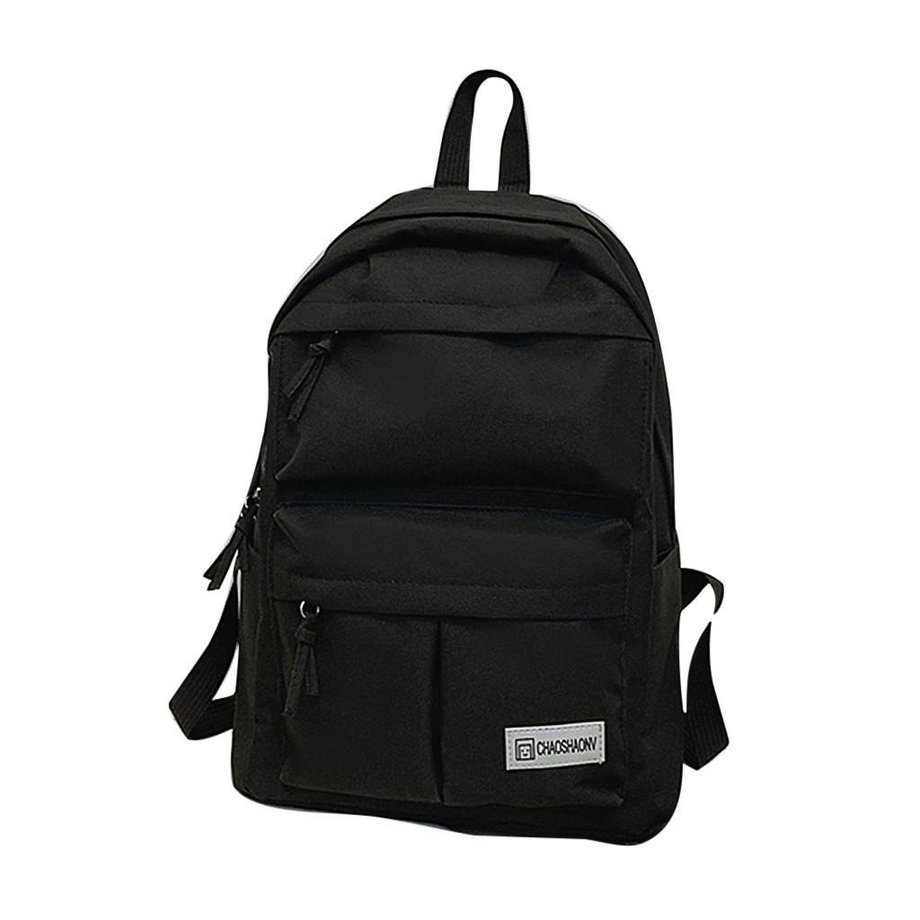 Черный рюкзак с карманами молодёжный.