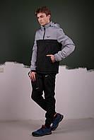Анорак утепленный, куртка утепленная, ветровка утепленная светло серо-черная