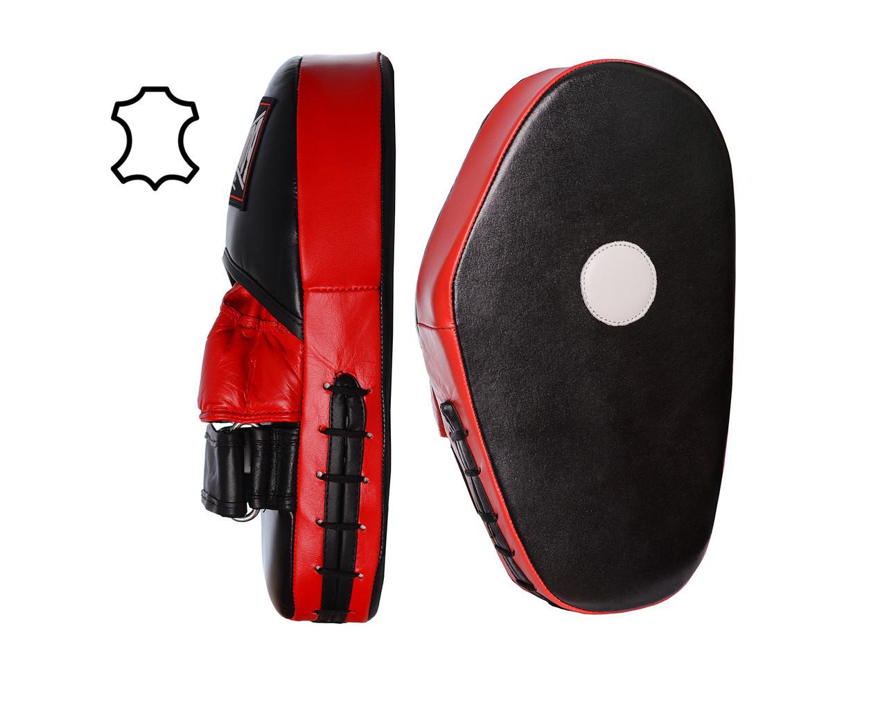 Лапи боксерські PowerPlay 3063 Чорно-Червоні Шкіра [пара]