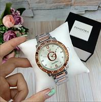 Женские наручные часы Pandora копия класса люкс, жіночі годинники Pandora серебро+бронза/белый)