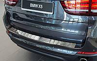 Накладка на задний бампер BMW X5 (F15) 2013-2018, полированная сталь 35083