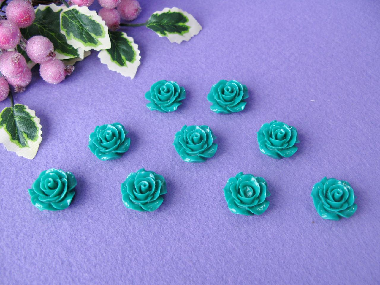 Серединка акриловая - Зеленая роза р-р - 2 см цена 20 грн - 10 шт