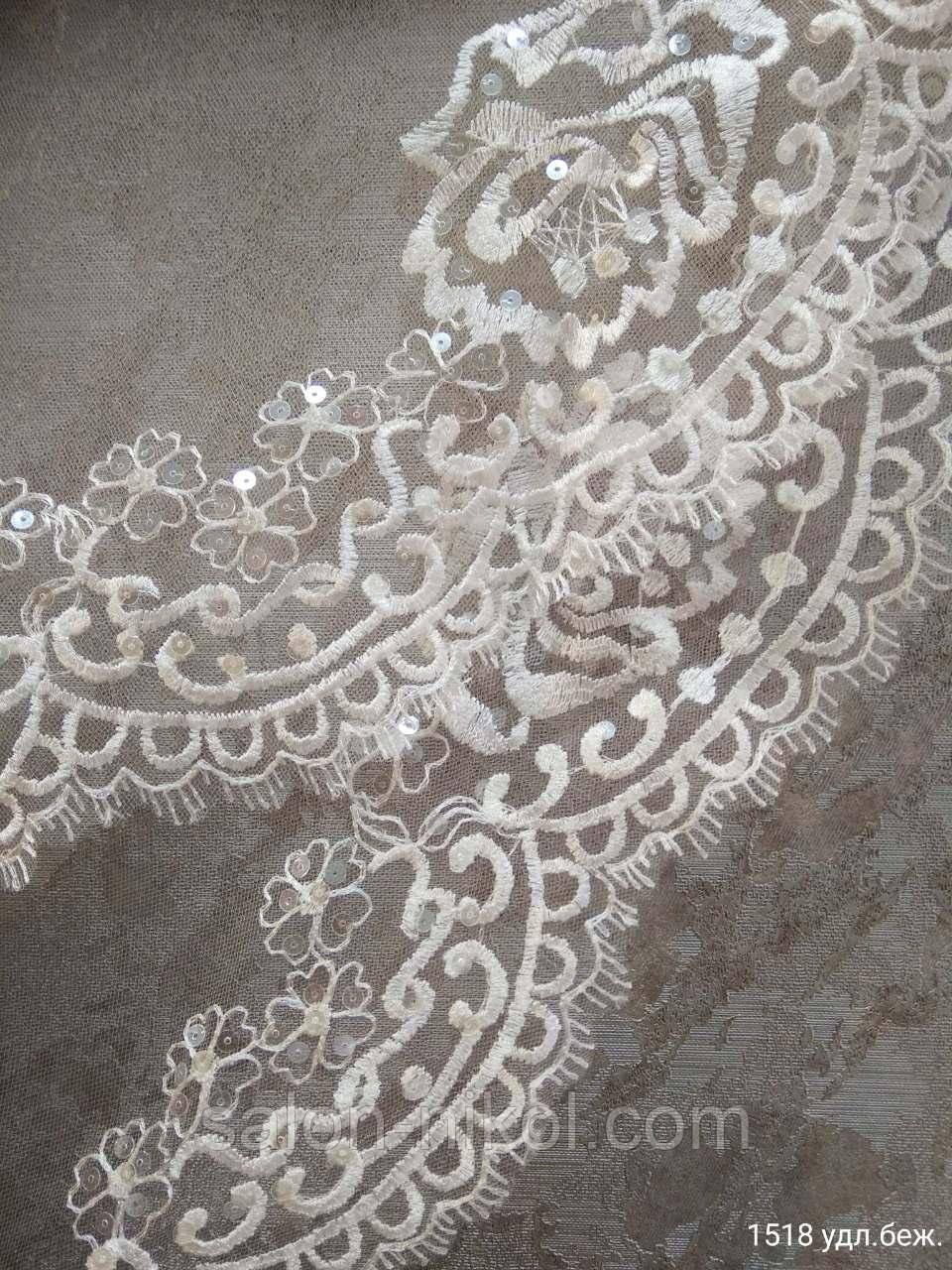Фата с вышивкой и паетками № 1518 (1,5*2 м) удлиненная бежевая