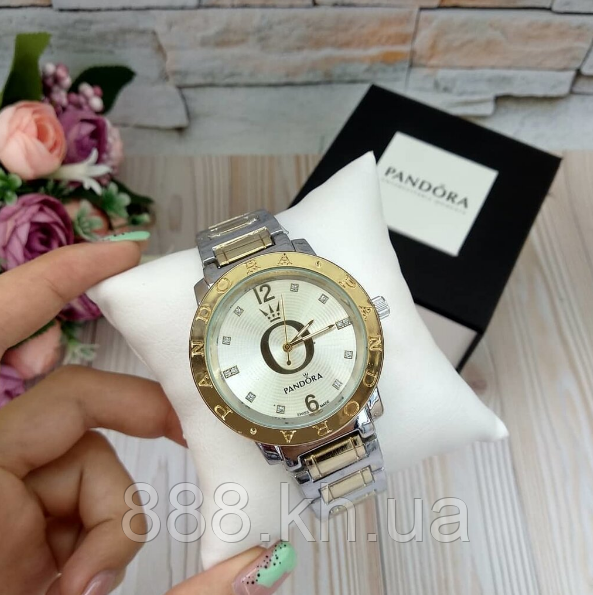 Женские наручные часы Pandora копия класса люкс, жіночі годинники Pandora (золото+серебро/белый)