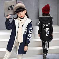Джинсове, тепле, осіннє пальто / детские джинсовые куртки для девочек, длинная одежда детская плотная теплая