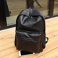 Большой кожаный рюкзак чёрный молодежный.