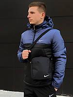Анорак утепленный, куртка утепленная, ветровка утепленная сине-черный