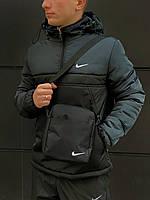 Анорак утепленный, куртка утепленная, ветровка утепленная болотно-черный