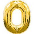 """Фольгована цифра золото """"0"""" 32"""" (80см) в упаковці"""
