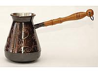 """Турка медная с узором """"Лошади"""" и деревянной ручкой, 500 мл. Джезва для приготовления кофе"""
