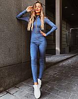 Женский джинсовый комбинезон на молнии