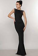 Нарядное женское платье в пол по фигуре цвет черный/букле RiMari Венеция  50, 52