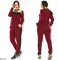 Женский прогулочный костюм бордо черный коричневый горчица 50-52 54-56 58-60 62-64 66-68 70-72, фото 1