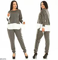 Женский костюм серый мор волна бордо 50-52 54-56 58-60 62-64 66-68 70-72, фото 1