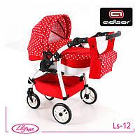 Кукольная коляска Lily SPORT TM Adbor (Ls-12, красный, горошек на красном)